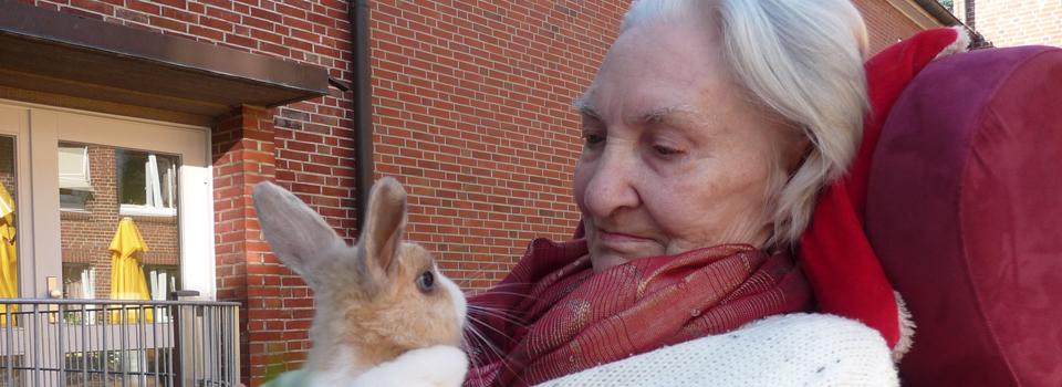 Tiergehege im Therapiegarten bieten den Bewohnern die Möglichkeit diese zu streicheln oder auch nur zu beobachten