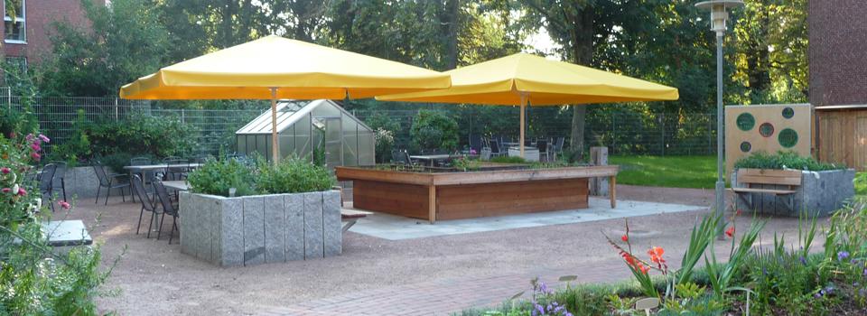 Hochbeet aus Granitborden, Therapiegarten im MCH Hamburg