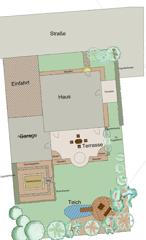 Beschriftete CAD-Zeichnung für eine Online-Gartenplanung