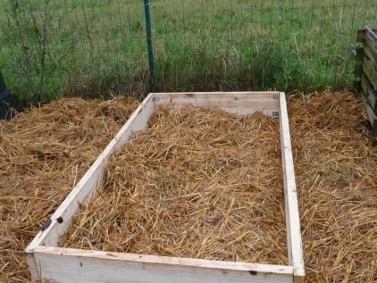 Stroh zum Mulchen im Rahmenbeet